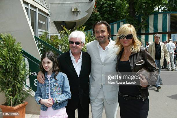 French Musician Marc Ceronne with Henri Leconte and Jill poses during the 8th day of French Open Tennis tournament held at Roland Garros stadium in...
