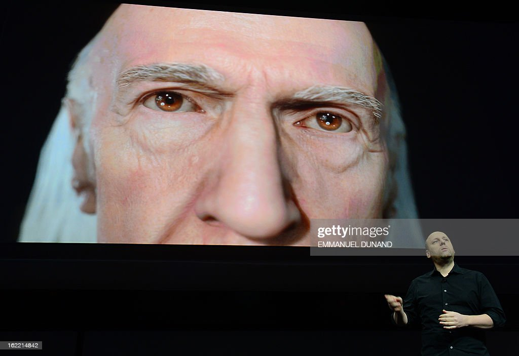 French musician, writer and video game designer David Cage, head of game developer studio Quantic Dream, talks as Sony introduces the PlayStation 4 at a news conference February 20, 2013 in New York. AFP PHOTO/EMMANUEL DUNAND