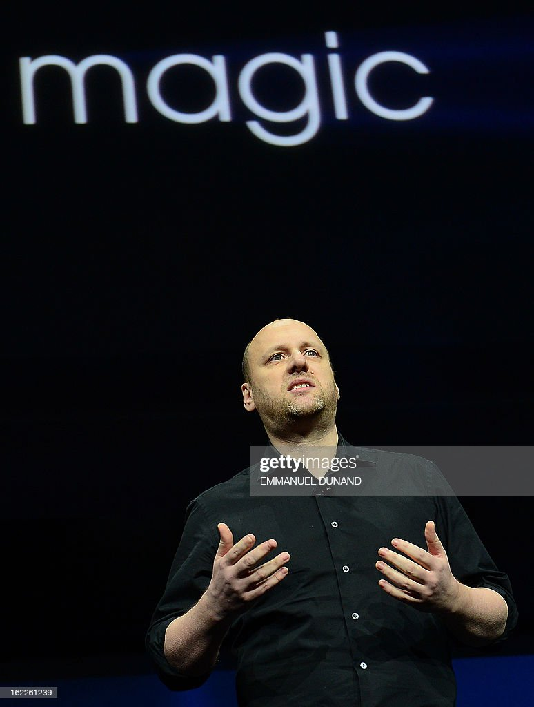French musician, writer and video game designer David Cage, head of game developer studio Quantic Dream, talks as Sony introduces the PlayStation 4 at a news conference February 20, 2013 in New York.