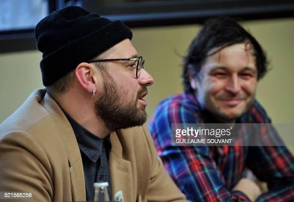 french musicians guillaume briere and benjamin lebeau of french band 39 the shoes 39 hold a press. Black Bedroom Furniture Sets. Home Design Ideas