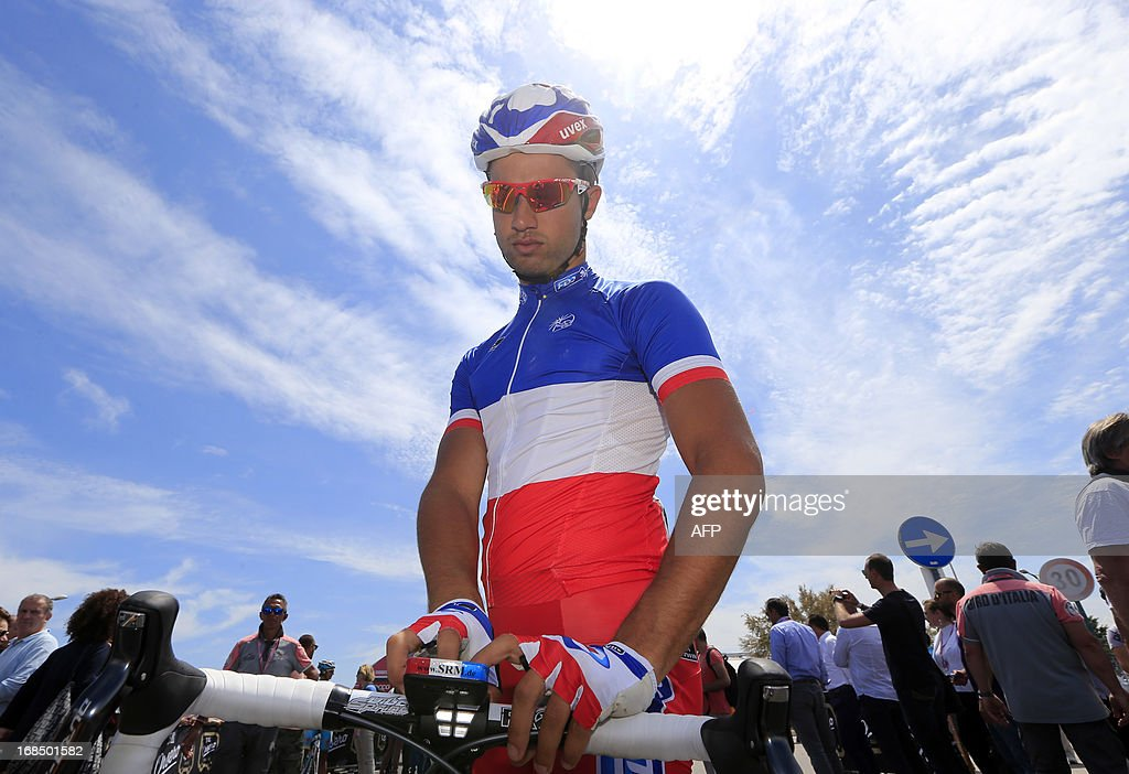 French Nacer Bouhanni gets ready before the start of the 162kms seventh stage of the 96th Giro d'Italia from San Salvo to Pescara on May 10, 2013. Australian cyclist Adam Hansen, riding for the Lotto team, won the seventh stage of the Tour of Italy on Friday, with Spain's Benat Intxausti claiming the overall leader's pink jersey.