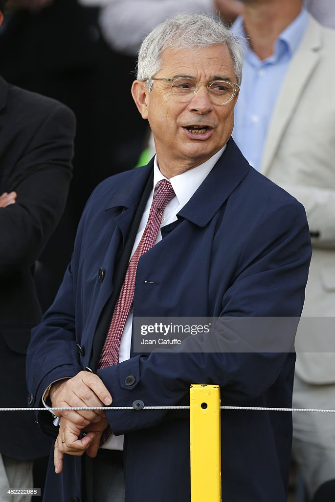 French National Assembly President Claude Bartolone attends stage twenty one of the 2015 Tour de France, a 109.5 km stage from Sevres to the Champs Elysees Avenue in Paris on July 26, 2015 in Paris, France.