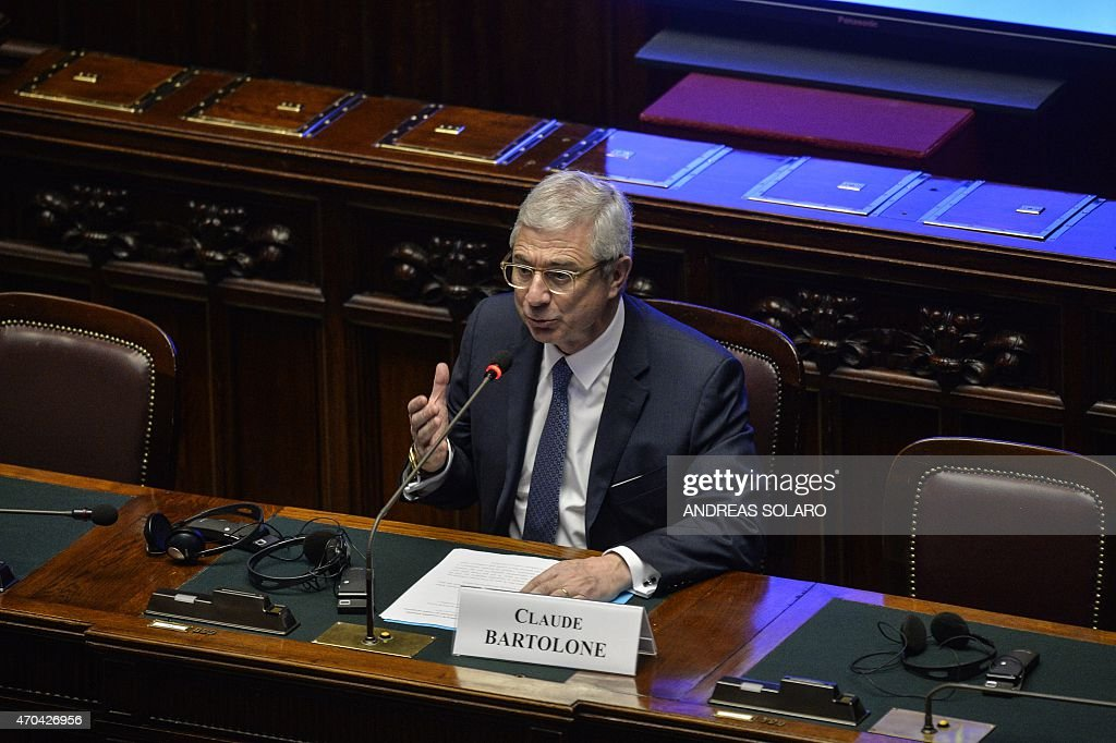 French National Assembly President Claude Bartolone speaks during a keynote address 'Europe beyond the crisis: new paths for growth' during the Conference of the speakers of the European Union parliaments at Montecitorio, at the talian Chamber of Deputies, on April 20, 2015 . AFP PHOTO / ANDREAS SOLARO