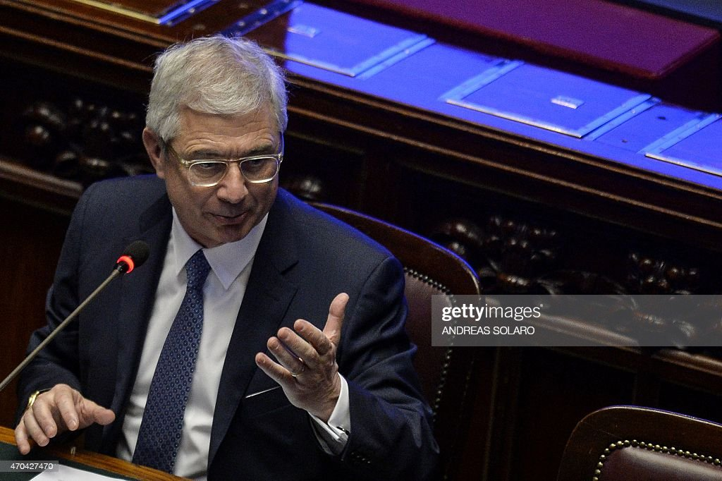 French National Assembly President <a gi-track='captionPersonalityLinkClicked' href=/galleries/search?phrase=Claude+Bartolone&family=editorial&specificpeople=551950 ng-click='$event.stopPropagation()'>Claude Bartolone</a> speaks during a keynote address 'Europe beyond the crisis: new paths for growth' during the Conference of the speakers of the European Union parliaments at Montecitorio, at the Italian Chamber of Deputies, on April 20, 2015 . AFP PHOTO / ANDREAS SOLARO
