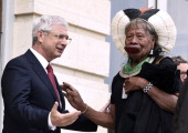 French National Assembly President Claude Bartolone welcomes Amazonian Indian tribe Kayapo chief Raoni Metuktire on June 32014 in Paris Twentyfive...