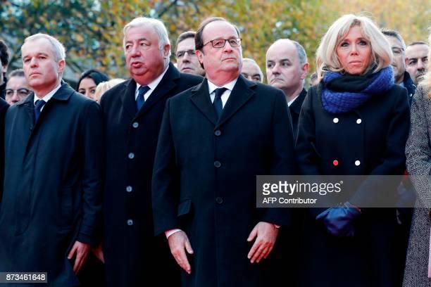 French National Assembly speaker Francois de Rugy French Senate speaker Gerard Larcher former French President Francois Hollande and Brigitte Macron...