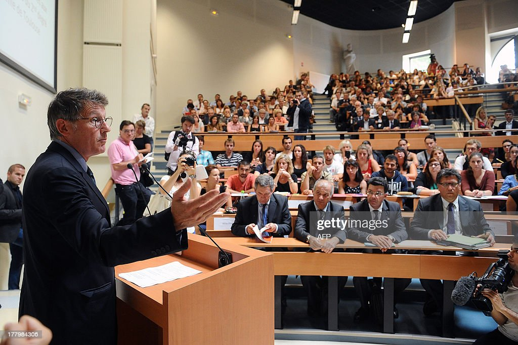 French National Education minister Vincent Peillon speaks during a meeting with trainee teachers at the Faculty of Social Sciences in Toulouse, southern France, on August 26, 2013.