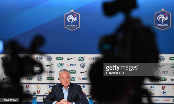 French national football team coach Didier Deschamps gives a press conference in Paris on May 18 to announce his squad for the World Cup 2018...