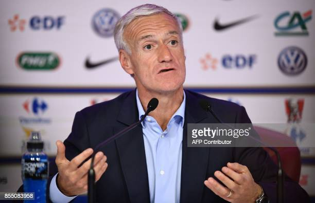 French national football team coach Didier Deschamps gives a press conference in Paris on September 28 2017 to announce his squad for the WC 2018...