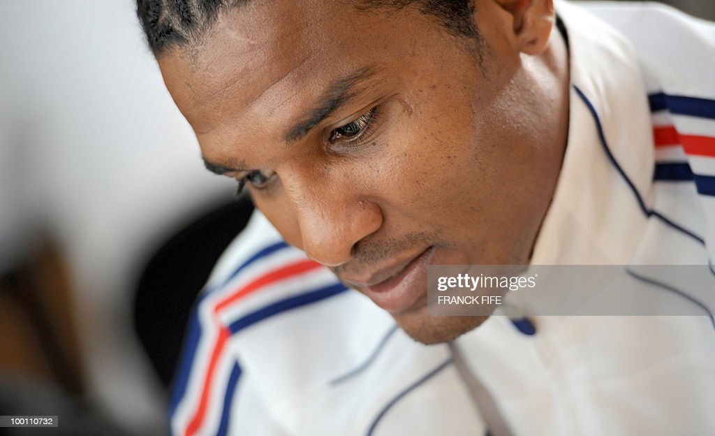 French national football team forward Florent Malouda gives a press conference in Tignes, French Alps on May 21, 2010. The French team started in Tignes its preparation for the upcoming FIFA 2010 World Cup in South Africa. France will play Uruguay in Capetown in its group A opener match next June 11.
