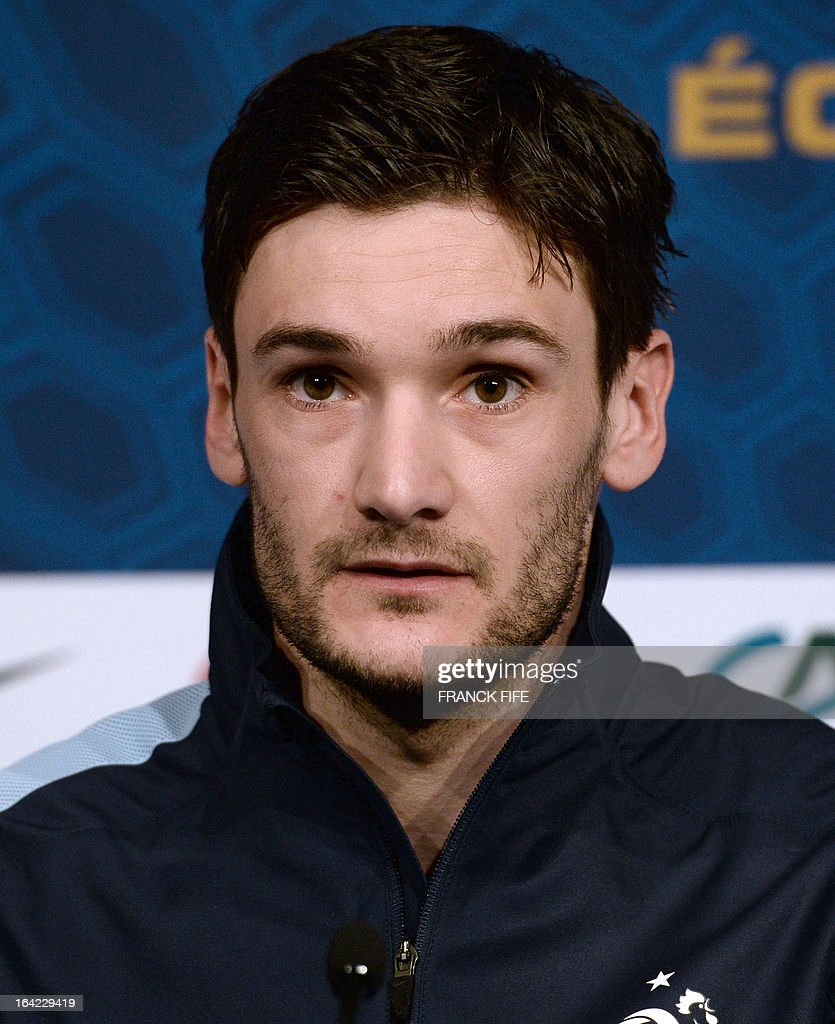 French national football team goalkeeper Hugo Lloris speaks during a press conference on March 21, 2013, in Saint-Denis, north of Paris, on the eve of their FIFA World Cup 2014 qualifying football match France vs Georgia at the Stade de France in Saint-Denis.