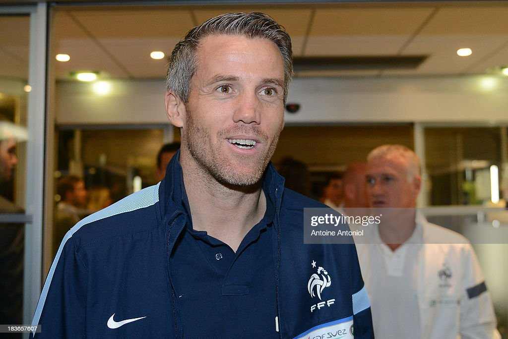 French national football team goalkeeper <a gi-track='captionPersonalityLinkClicked' href=/galleries/search?phrase=Mickael+Landreau&family=editorial&specificpeople=490956 ng-click='$event.stopPropagation()'>Mickael Landreau</a> arrives at a harnessed trot race, on October 8, 2013 in Paris, France.