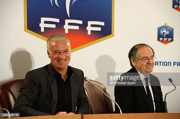 French national football team head coach Didier Deschamps and French football federation president Noel le Graet attend a press conference on...