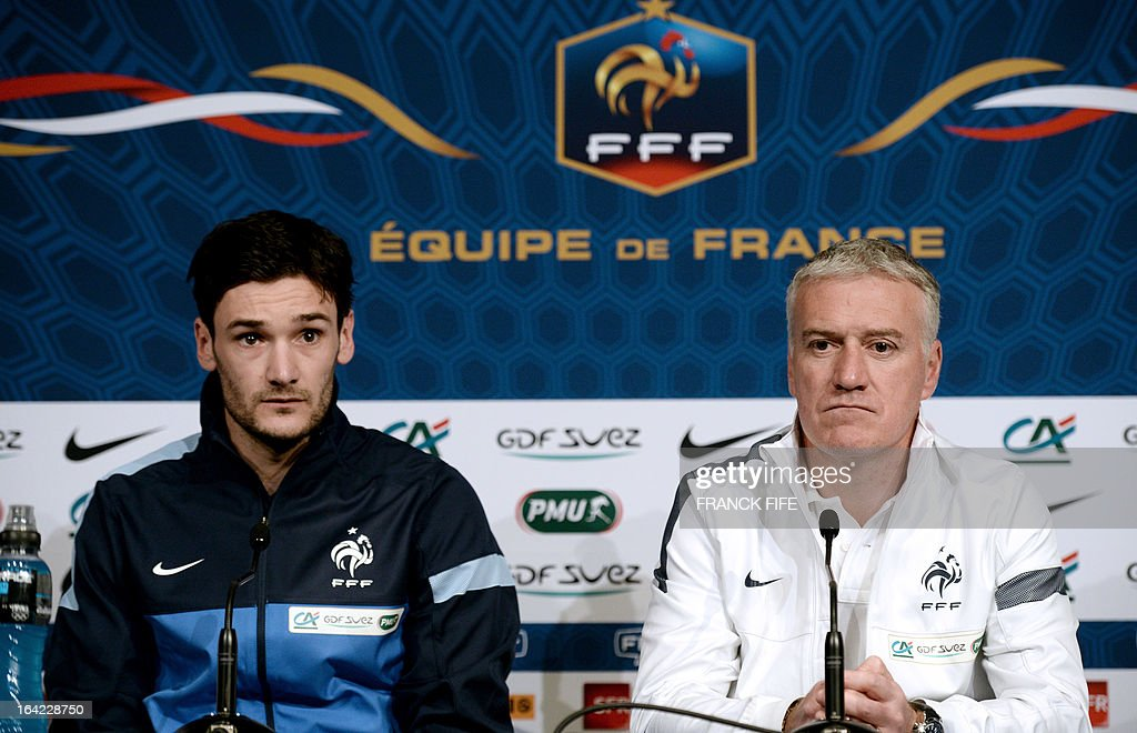 French national football team head coach Didier Deschamps (R) and goalkeeper Hugo Lloris give a press conference on March 21, 2013, 2013 in Saint-Denis, north of Paris, on the eve of a World Cup 2014 qualifying football match France vs Georgia at the Stade de France in Saint-Denis. AFP PHOTO / FRANCK FIFE