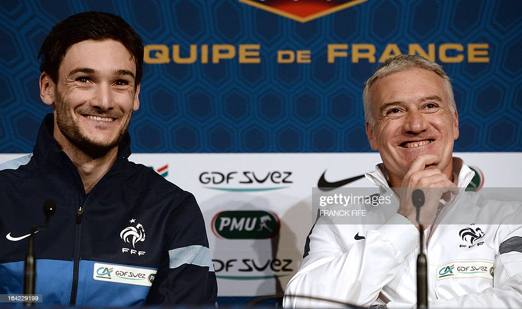 French national football team head coach Didier Deschamps (R) and goalkeeper Hugo Lloris give a press conference on March 21, 2013, in Saint-Denis, north of Paris, on the eve of their FIFA World Cup 2014 qualifying football match France vs Georgia at the Stade de France in Saint-Denis.