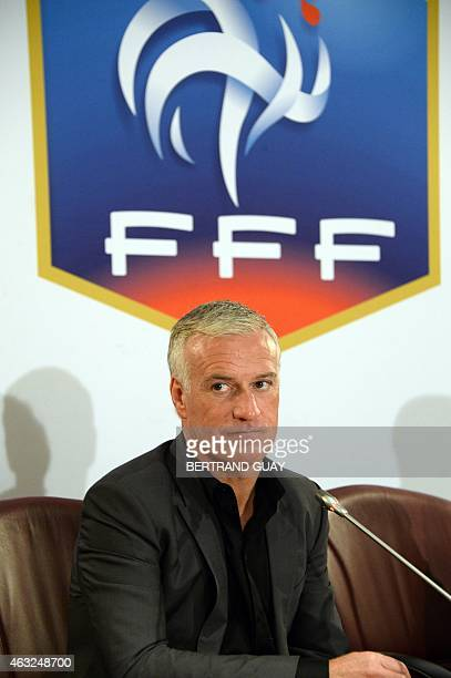 French national football team head coach Didier Deschamps attends a press conference on February 12 2015 at the French football federation...