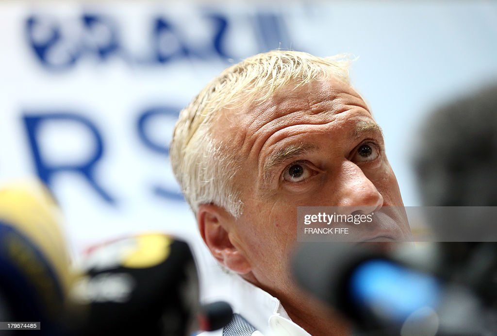French national football team head coach Didier Deschamps gives a press conference on September 5, 2013, on the eve of their FIFA World Cup 2014 qualifying football match Georgia vs France at the Boris Paichadze stadium in Tbilisi.