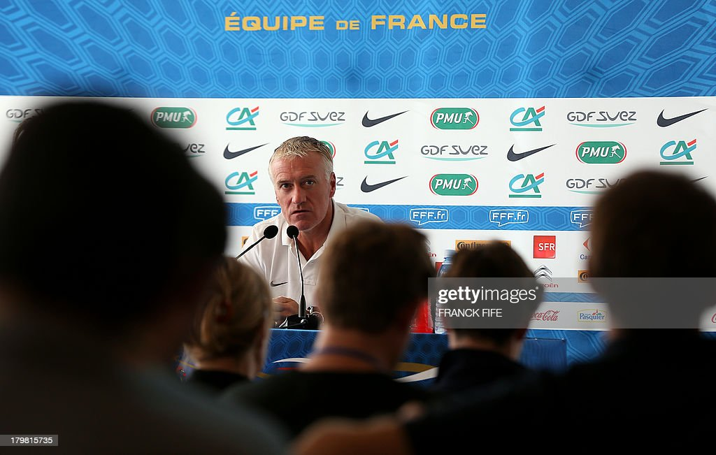 French national football team head coach <a gi-track='captionPersonalityLinkClicked' href=/galleries/search?phrase=Didier+Deschamps&family=editorial&specificpeople=213607 ng-click='$event.stopPropagation()'>Didier Deschamps</a> gives a press conference on September 7, 2013, after their FIFA World Cup 2014 qualifying football match Georgia vs France at the Boris Paichadze stadium in Tbilisi. AFP PHOTO / FRANCK FIFE