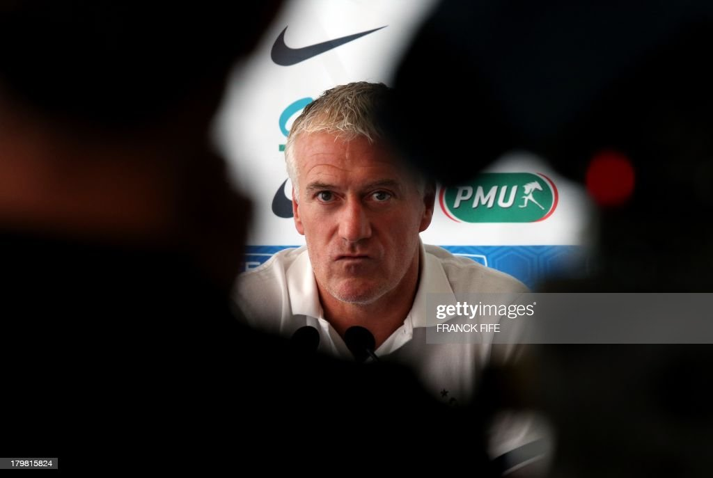 French national football team head coach <a gi-track='captionPersonalityLinkClicked' href=/galleries/search?phrase=Didier+Deschamps&family=editorial&specificpeople=213607 ng-click='$event.stopPropagation()'>Didier Deschamps</a> gives a press conference on September 7, 2013, after their FIFA World Cup 2014 qualifying football match Georgia vs France at the Boris Paichadze stadium in Tbilisi.