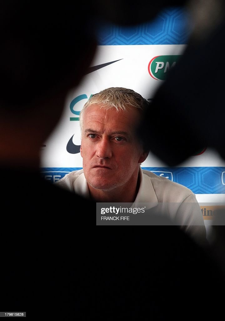 French national football team head coach Didier Deschamps gives a press conference on September 7, 2013, after their FIFA World Cup 2014 qualifying football match Georgia vs France at the Boris Paichadze stadium in Tbilisi.