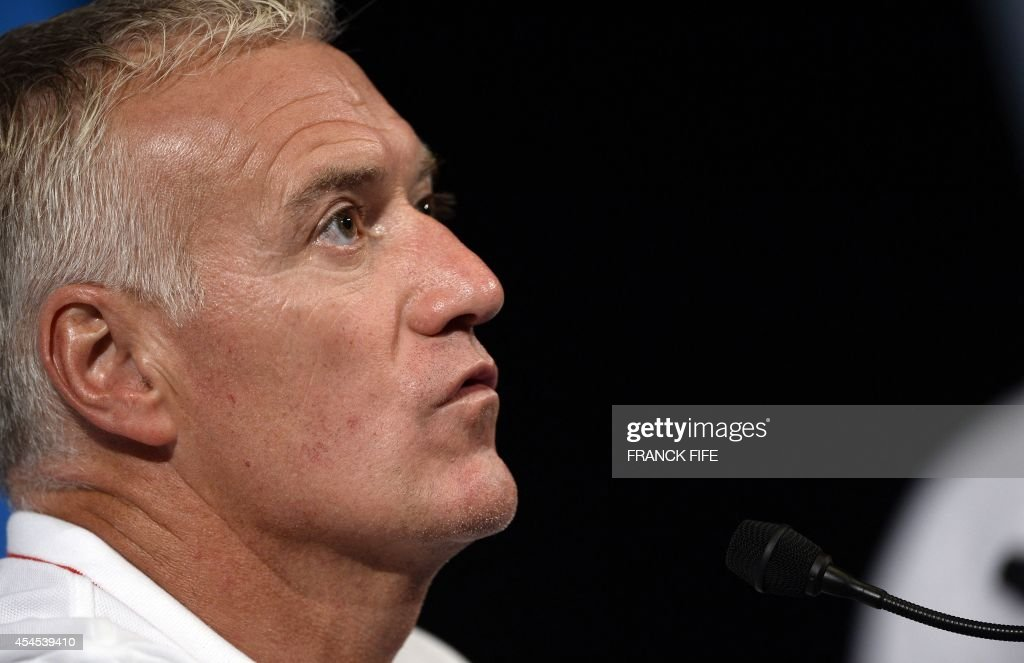 French national football team head coach Didier Deschamps gives a press conference on September 3, 2014, on the eve of the team's friendly football match against Spain at the Stade de France in Saint-Denis near Paris.