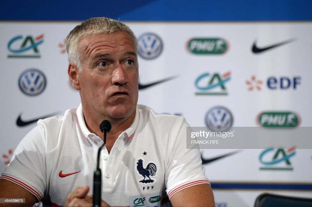 French national football team head coach Didier Deschamps gives a press conference on September 3, 2014, on the eve of his team's friendly football match against Spain at the Stade de France in Saint-Denis near Paris.