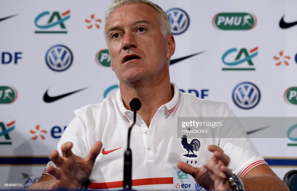 French national football team head coach Didier Deschamps gives a press conference on September 3, 2014, on the eve of the team's friendly football match against Spain at the Stade de France in Saint-Denis near Paris. AFP PHOTO / FRANCK FIFE