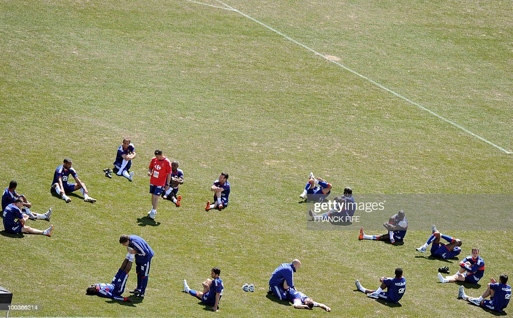 French national football team streches during a training session, on May 24, 2010, near Tignes in the French Alps, as part of the preparation for the upcoming World Cup 2010. France will play against Uruguay in Capetown in its group A opener match on June 11.