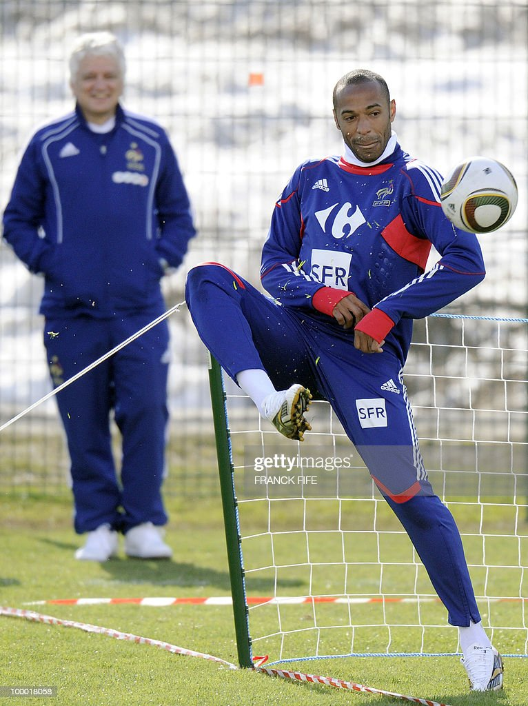 French national football team's captain Thierry Henry controls the ball during a training session, on May 20, 2010 in Tignes, French Alps, as part of the altitude training in preparation for the 2010 World cup in South Africa. France will play Uruguay in Capetown in its group A opener match on June 11.