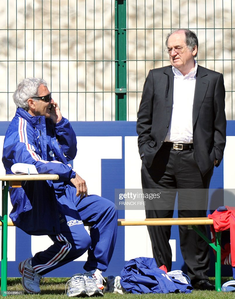 French national football team's coach Raymond Domenech (L) and vice-president of French football association Noel Le Graet (R) are pictured before a training session, on May 24, 2010, near Tignes in the French Alps, as part of the preparation for the upcoming World Cup 2010. France will play against Uruguay in Capetown in its group A opener match on June 11.