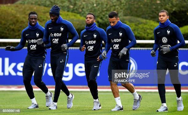 French national football team's defender Benjamin Mendy midfielder Tiemoue Bakayoko midfielder Thomas Lemar midfielder Corentin Tolisso and forward...
