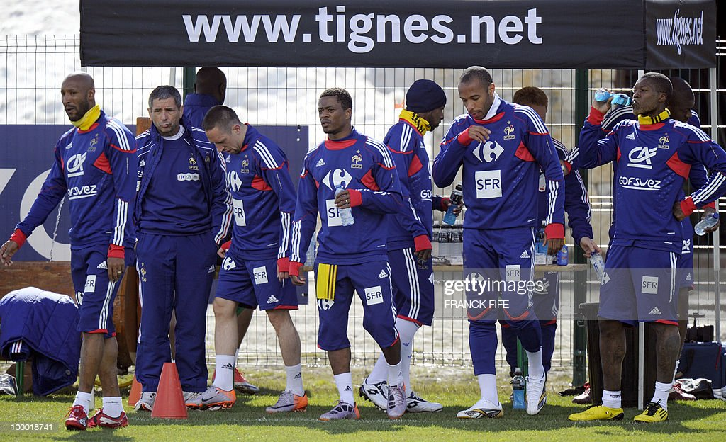 French national football team's forward Djibrill Cisse, forward Franck Ribery, defender Patrice Evra, captain Thierry Henry and forward Nicolas Anelka attend a training session, on May 20 , 2010 in Tignes, French Alps, as part of their altitude training in preparation for the 2010 World cup in South Africa. France will play Uruguay in Capetown in its group A opener match on June 11.