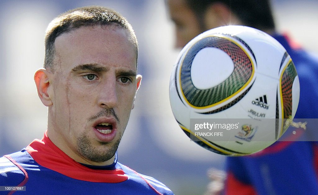 French national football team's forward Franck Ribery eyes the ball during a training session, on May 20, 2010 in Tignes, French Alps, as part of their altitude training in preparation for the 2010 World cup in South Africa. France will play Uruguay in Capetown in its group A opener match on June 11.