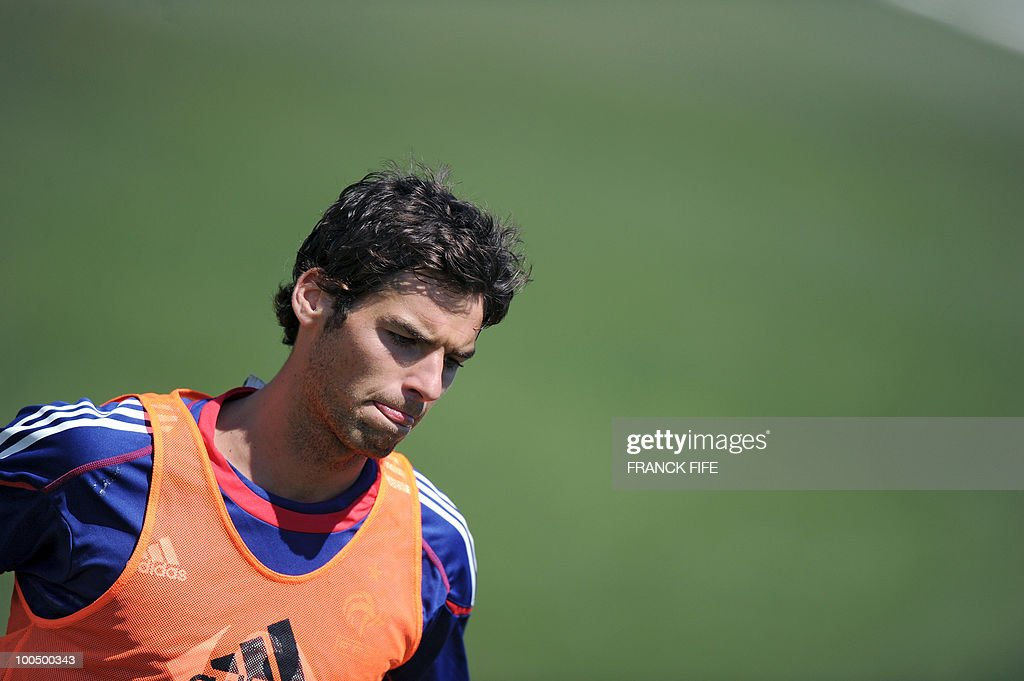 French national football team's midfielder Yoann Gourcuff takes part in a training session, on May 25, 2010, near Tignes in the French Alps, as part of the preparation for the upcoming World Cup 2010. France will play against Uruguay in Capetown in its group A opener match on June 11.