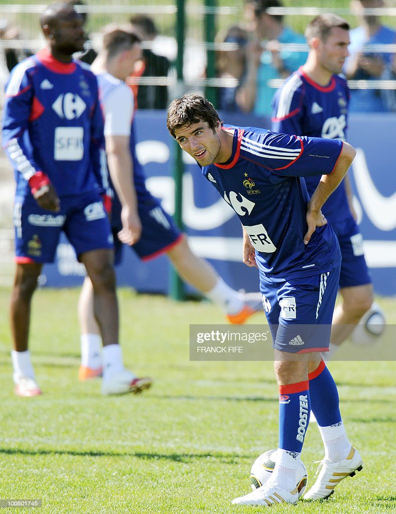 French national football team's midfielder Yoann Gourcuff takes part in a training session, on May 24, 2010, near Tignes in the French Alps, as part of the preparation for the upcoming World Cup 2010. France will play against Uruguay in Capetown in its group A opener match on June 11.