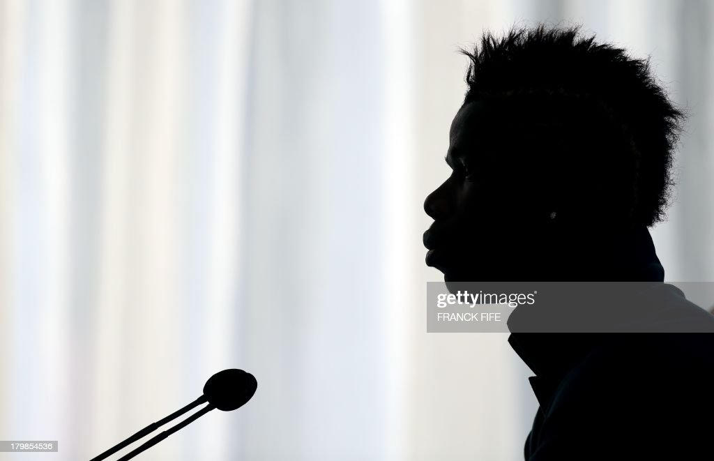 French national football team's <a gi-track='captionPersonalityLinkClicked' href=/galleries/search?phrase=Paul+Pogba&family=editorial&specificpeople=5805302 ng-click='$event.stopPropagation()'>Paul Pogba</a> takes part in a press conference on September 7, 2013, after their FIFA World Cup 2014 qualifying football match Georgia vs France at the Boris Paichadze stadium in Tbilisi.