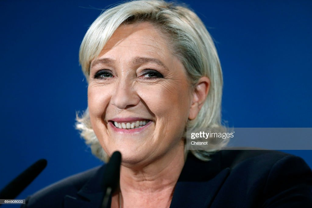 French National Front (FN) political party leader and candidate for French legislative elections, Marine Le Pen makes a statement after the results of the first round on June 11, 2017 in Henin-Beaumont, France. Marine Le Pen won more than 45% of votes in the first round of the legislative elections, a higher score obtained in the first round of the presidential election.