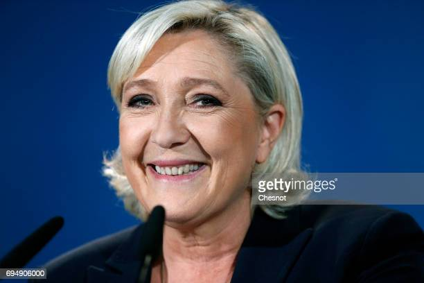 French National Front political party leader and candidate for French legislative elections Marine Le Pen makes a statement after the results of the...
