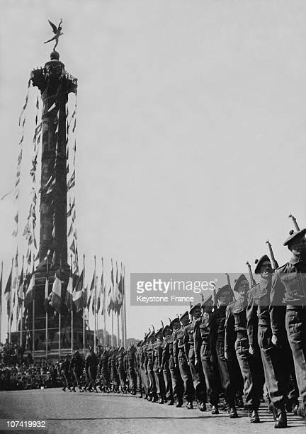 French National Holiday Military Parade At Place De La Bastille In Paris On July 14Th 1945