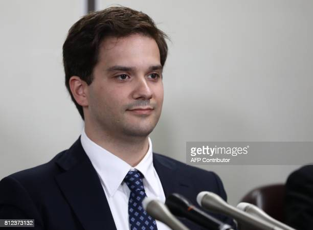 French national Mark Karpeles former CEO of collapsed Bitcoin exchange MtGox attends a press conference after his first hearing in Tokyo on July 11...