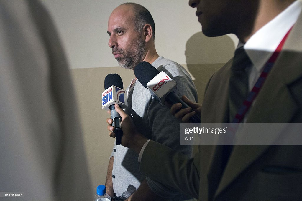 French national Nicolas Pisapia leaves after an audience to judge the case of four French citizens accused of drug trafficking in Santo Domingo, on March 27, 2013. A Dominican court postponed until April 4 the session to deal with the case of the four defendants, charged with attempt to smuggle 700 kg of cocaine aboard an aircraft belonging to French businessman Alain Afflelou seized on March 20 when it was ready to fly to France.