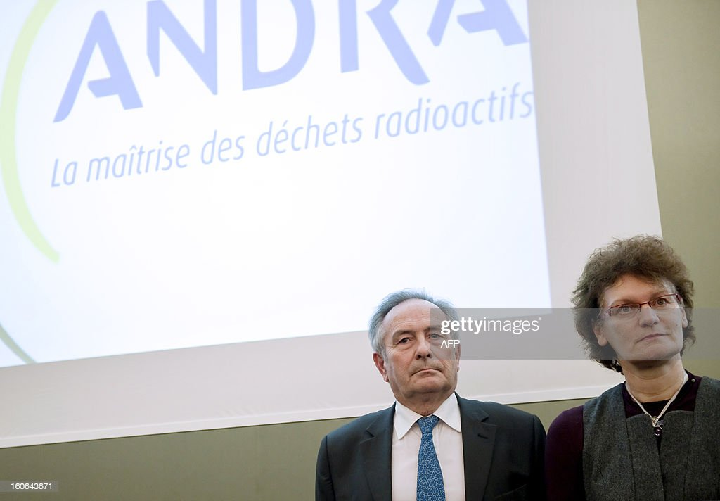 French National Radioactive Waste Management Agency (Andra) chairman of the Board François-Michel Gonnot (L) and CEO Marie-Claude Dupuis (R) are pictured during a press conference of French Ecology minister, on February 4, 2013 in Saudron, eastern France. AFP PHOTO / JEAN-CHRISTOPHE VERHAEGENCEO Marie-Claude Dupuis