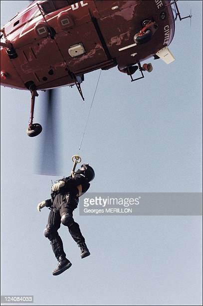 French National SWAT team RAID for the security of the world cup In France On January 20 1998 Member of French national SWAT team being winched up by...
