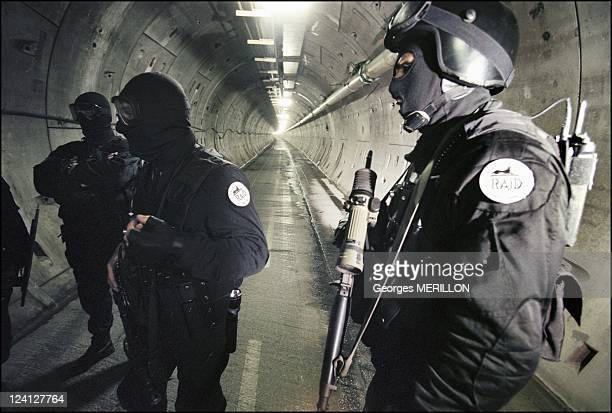 French National SWAT team RAID for the security of the world cup In France On January 20 1998 Members of French national SWAT team inside the Channel...