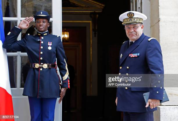 French Navy Chief of Staff Admiral Christophe Prazuck arrives for a working lunch with the French prime minister at the Hotel de Matignon the...