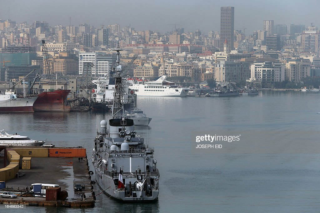 French navy frigate FASM Georges Leygues prepares to leave Beirut habour to participate in sea and war games with the Lebanese forces on the bay of Jounieh, north of the capital, on March 26, 2013. AFP PHOTO/JOSEPH EID