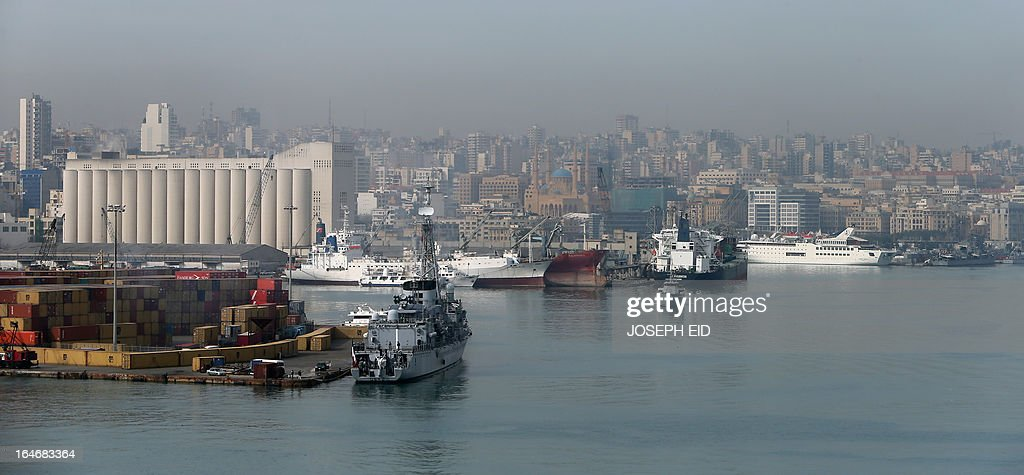 French navy frigate FASM Georges Leygues (L) prepares to leave Beirut habour to participate in sea and war games with the Lebanese forces on the bay of Jounieh, north of the capital, on March 26, 2013.