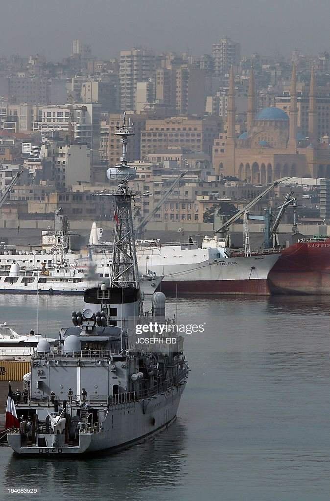 French navy frigate FASM Georges Leygues prepares to leave Beirut habour to participate in sea and war games with the Lebanese forces on the bay of Jounieh, north of the capital, on March 26, 2013.
