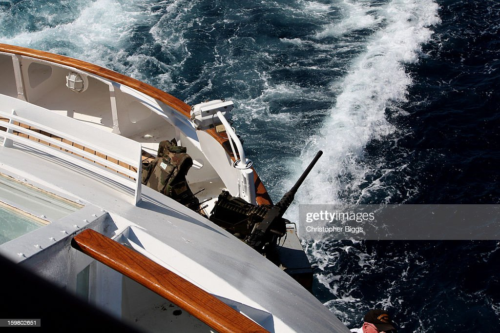 CONTENT] French Navy gun emplacement on board the luxury cruise ship the Seabourn Spirit for protection whilst in a safety convoy due to Somali based pirates in the Gulf of Aden.