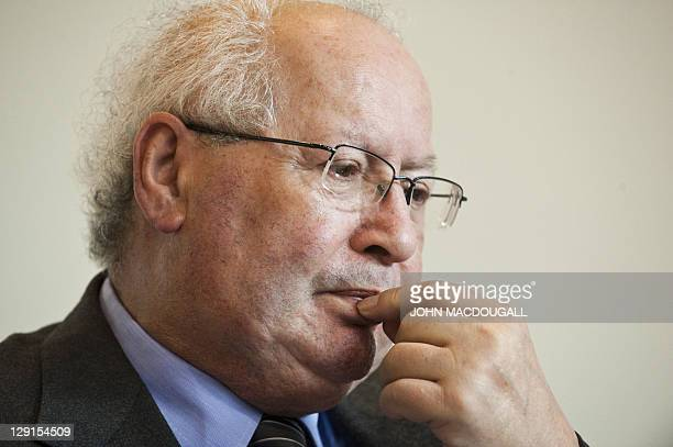 French Nazi hunter Serge Klarsfeld takes part in the presentation of Project Aladdin at the 63rd Frankfurt Book Fair October 13 2011 Project Aladdin...